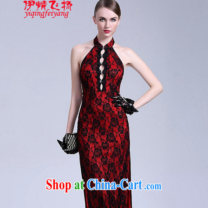 The flies love 2015 New on the truck night dresses long antique roses embroidery back exposed dresses T C 401 807 red