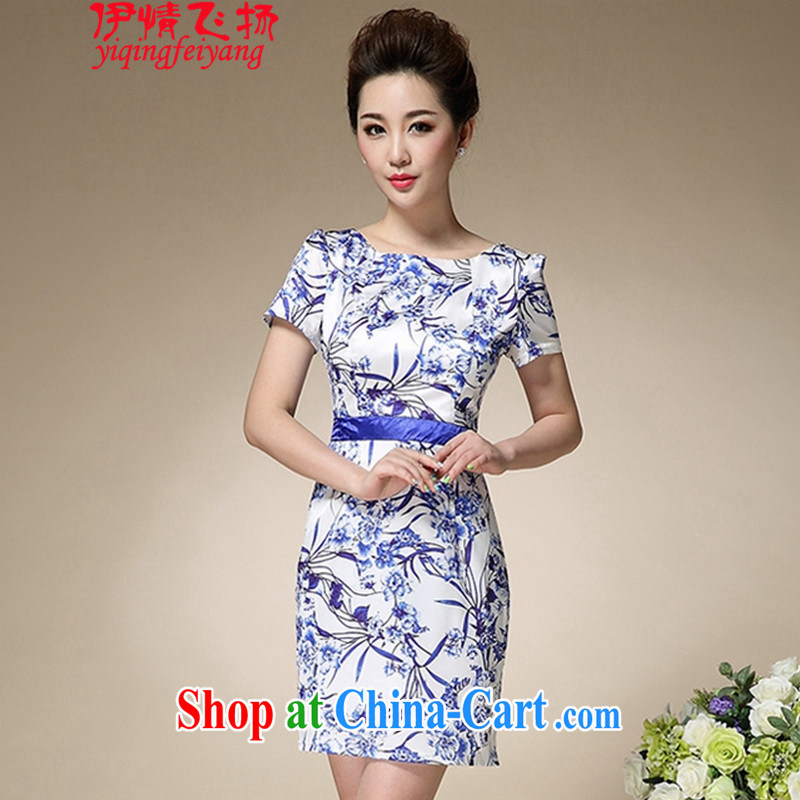 The flies love summer 2015 new blue and white porcelain stamp collection waist graphics thin round-collar further skirt short-sleeved dress beauty dresses T C 515 8991 3 XL