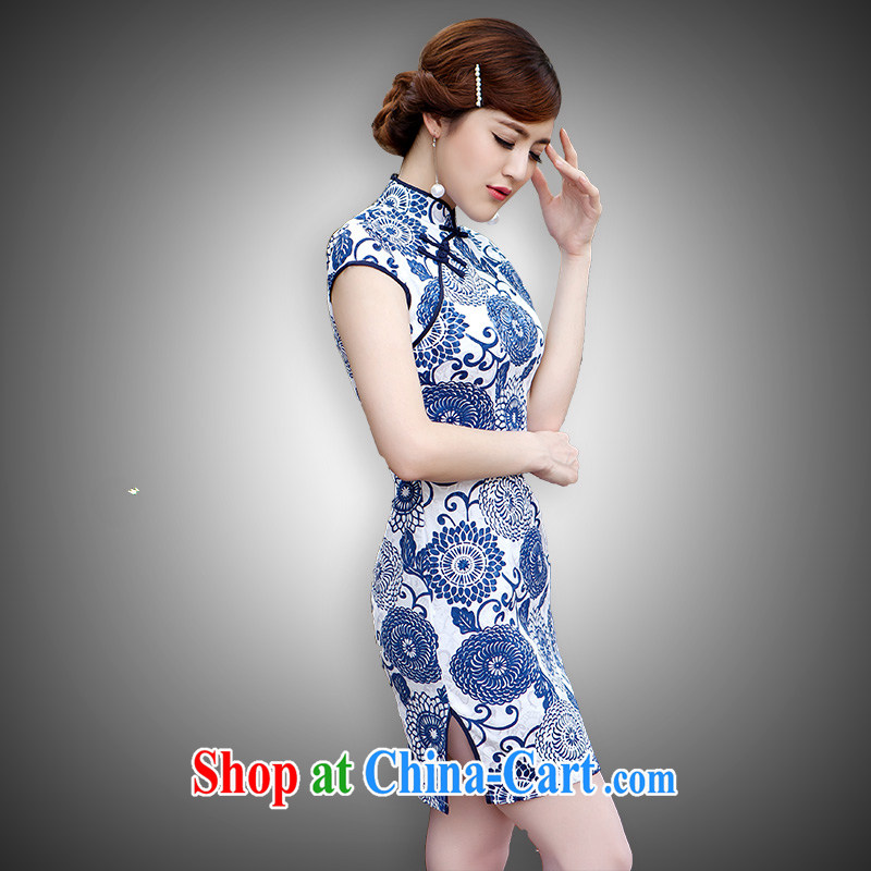According to Lin Sa 2015 new summer lady stylish beauty improved cheongsam dress blue XL