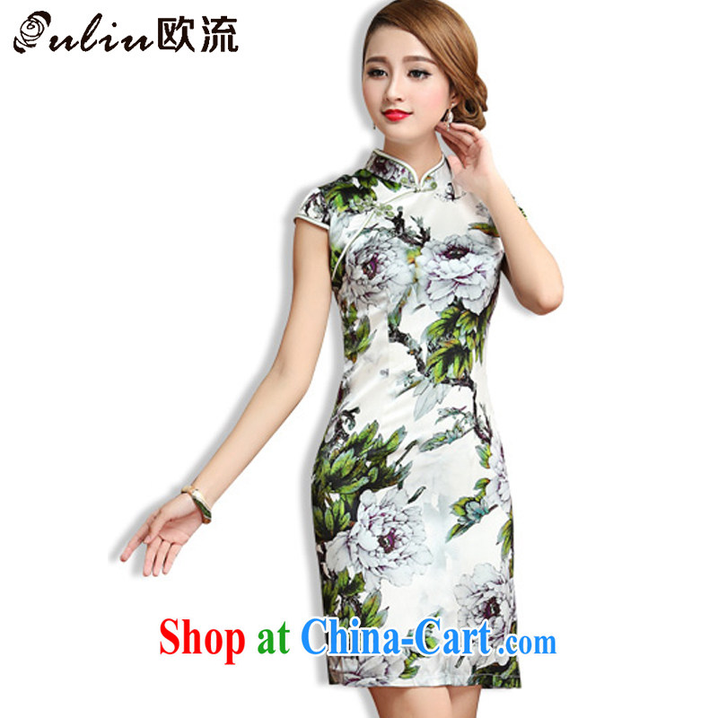 The stream, Ms. 2015 summer heavy Silk Cheongsam dress retro cultivating short-sleeved sauna Silk Cheongsam dress AQE 013 green XXL