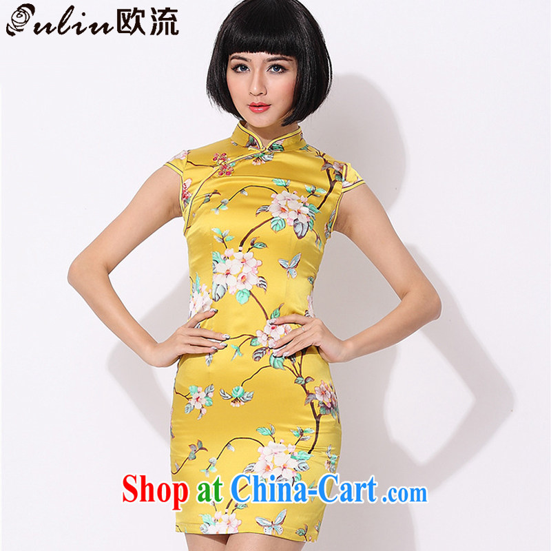 The class floral retro style Silk Cheongsam improved daily Chinese sauna silk dress AQE 015 yellow XXXL
