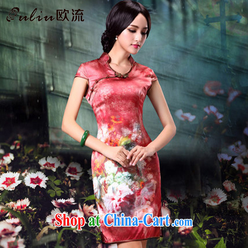 The retro-style flowers Silk Cheongsam dress, bridal wedding dress dresses AQE 014 red XXXL