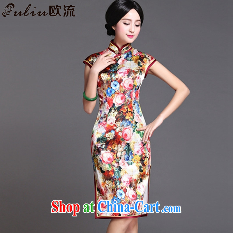 The stream long Silk Cheongsam dress sense of the Lao sauna silk dress dresses AQE 018 photo color XXXL