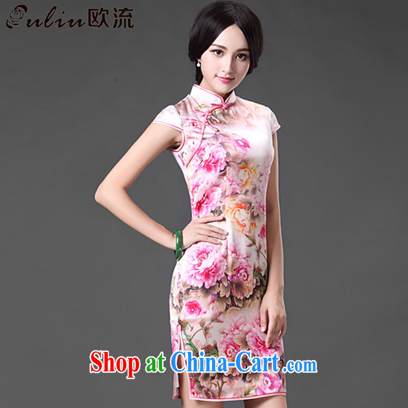 The retro-style heavy Silk Cheongsam dress sense of the forklift truck peony flower dress dresses AQE 021 photo color XXXL