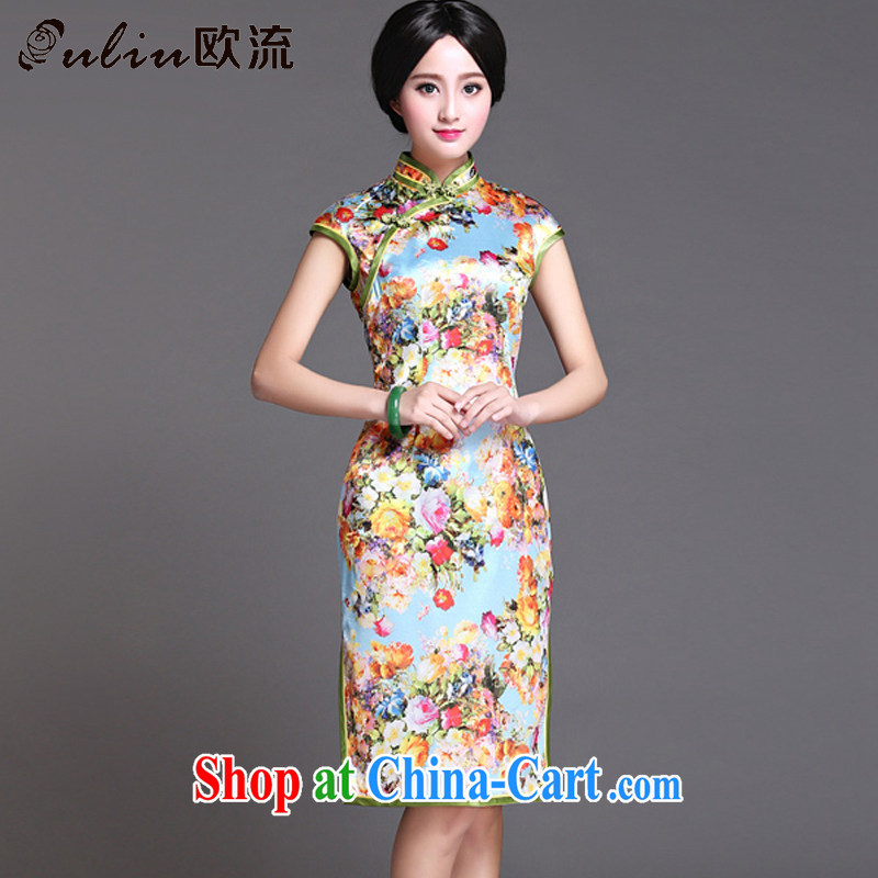 The retro-style heavy Silk Cheongsam elegance short-sleeved, long cheongsam AQE 017 Map Color XXXL