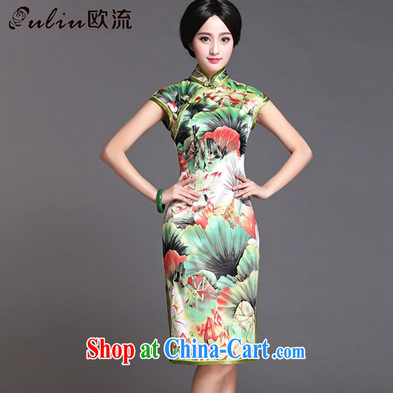 The flow green flouncing upscale Silk Cheongsam dress Chinese Korea Chinese Dress sauna retro Silk Dresses summer AQE 020 photo color XXXL