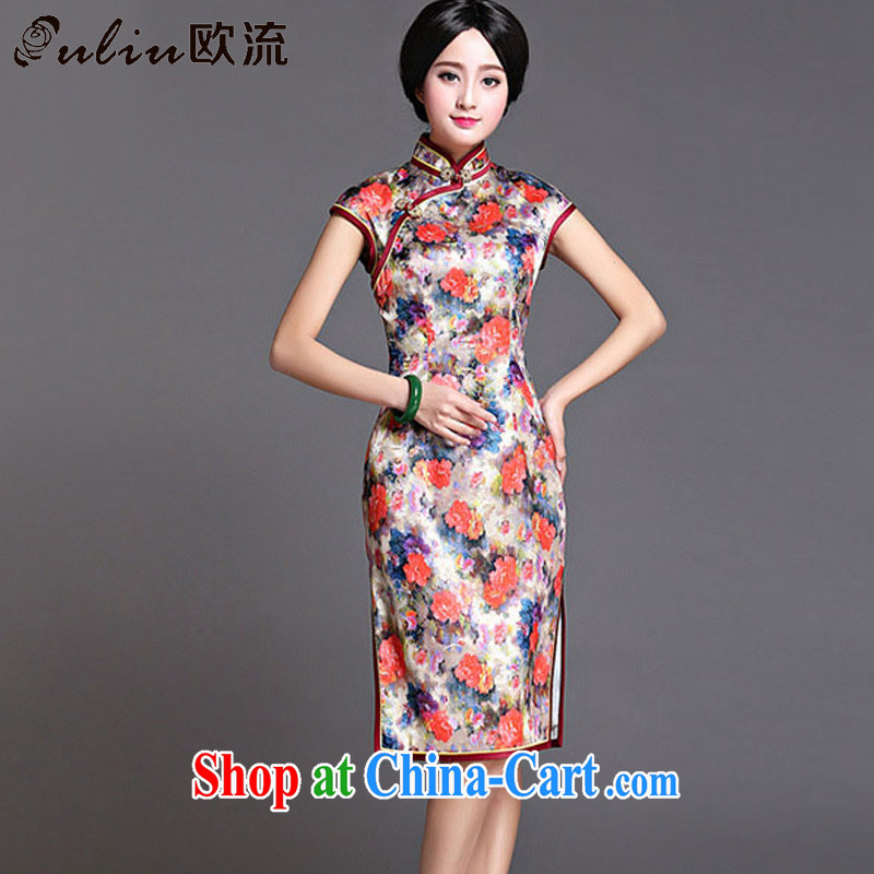 The Best Original Design Silk Cheongsam dress, long, China wind standard sauna silk dress dresses AQE 022 fancy XXXL