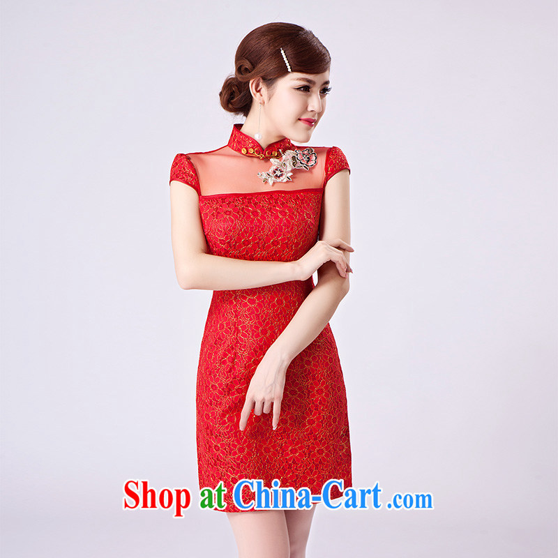 2015 female new XL Ethnic Wind Chinese Chinese Embroidery antique style beauty video thin package and cheongsam dress red XL