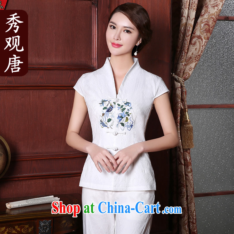 The CYD HO Kwun Tong' Anna of summer 2015 new Ms. replacing Chinese improved embroidery Chinese blouses white M