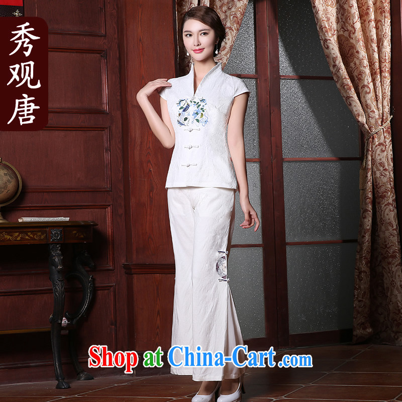 The CYD HO Kwun Tong' Anna of summer 2015 new, Chinese Chinese improved embroidery Chinese blouses white M, Sau looked Tang, and shopping on the Internet