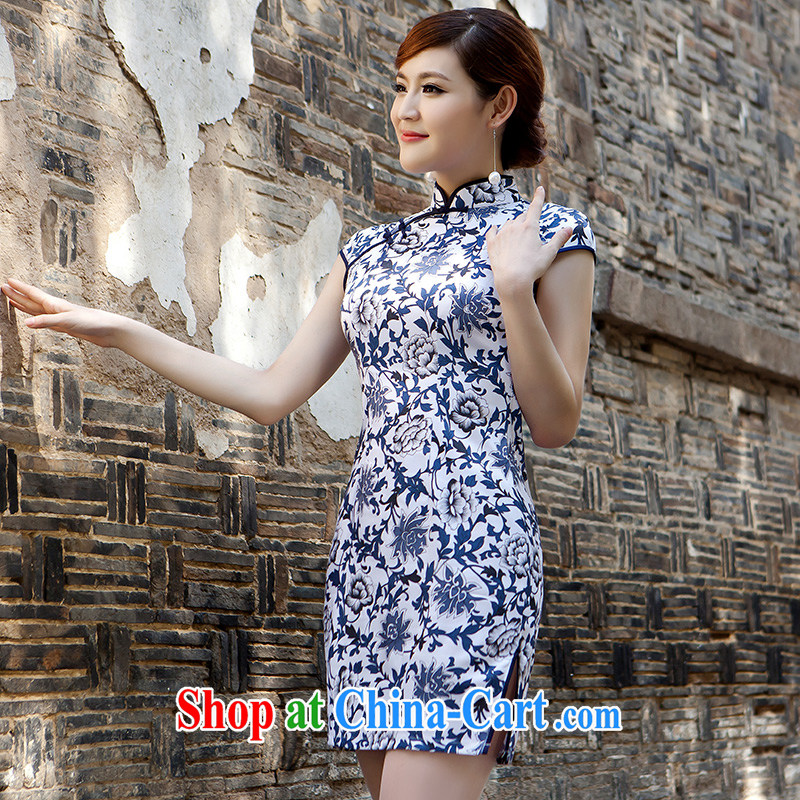 2015 new summer day-style floral Ethnic Wind and elegant low-power on the truck cheongsam dress female blue XL
