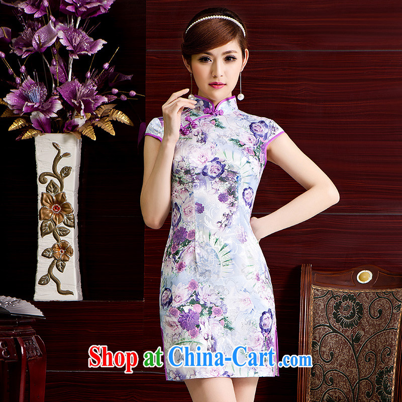Improved cheongsam dress jacquard cotton China wind Silk Dresses 2015 new light purple S