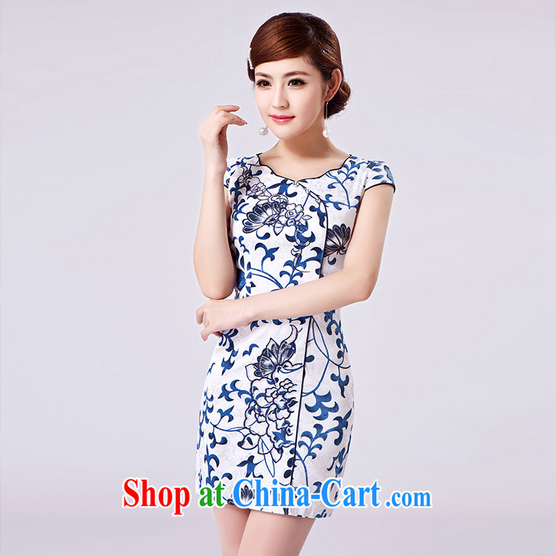 2015 spring new women with improved modern cheongsam dress daily cultivating the cotton robes blue XL