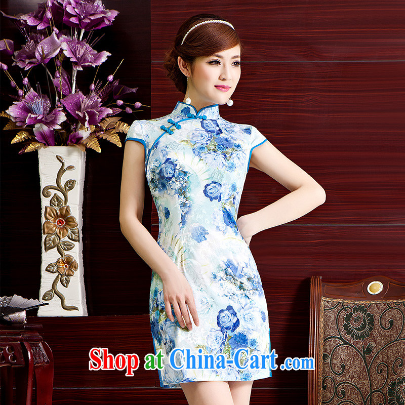 015 spring and summer new upscale heavy Silk Cheongsam sauna silk retro double-long high on the truck cheongsam dress light blue XL