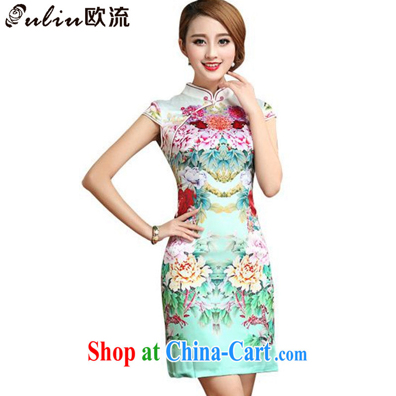 The stream summer short-sleeved Silk Cheongsam dress retro stylish upmarket sauna Silk Dresses small dress AQE 026 photo color S