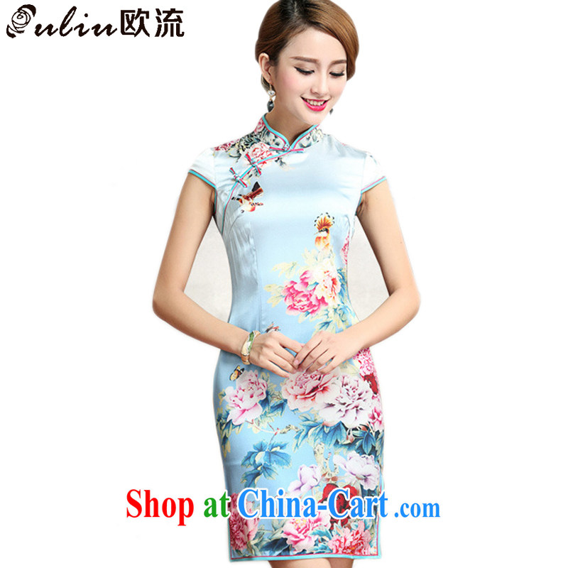 The class heavy silk peony flower cheongsam retro improved daily sauna Silk Cheongsam dress AQE 023 Map Color XXXL