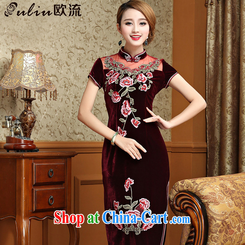 The first class standard gold velour cheongsam dress, long, short-sleeved wedding dress retro toast AQE serving 025 maroon XXXL