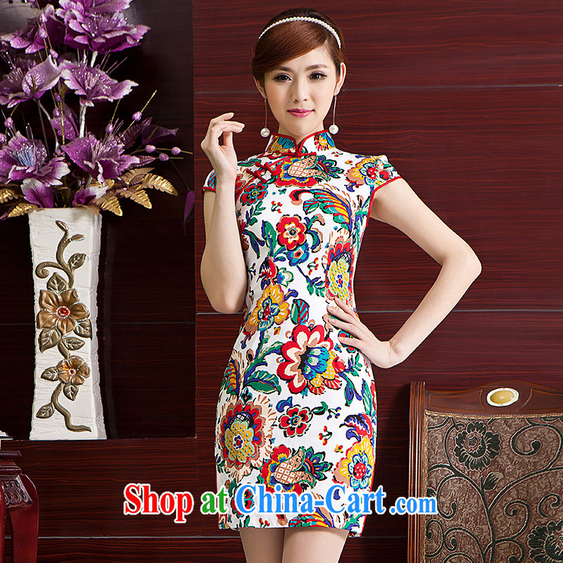 5 color paintings Chinese stamp retro, Spring Summer fashion improved cheongsam dress paint aura XL