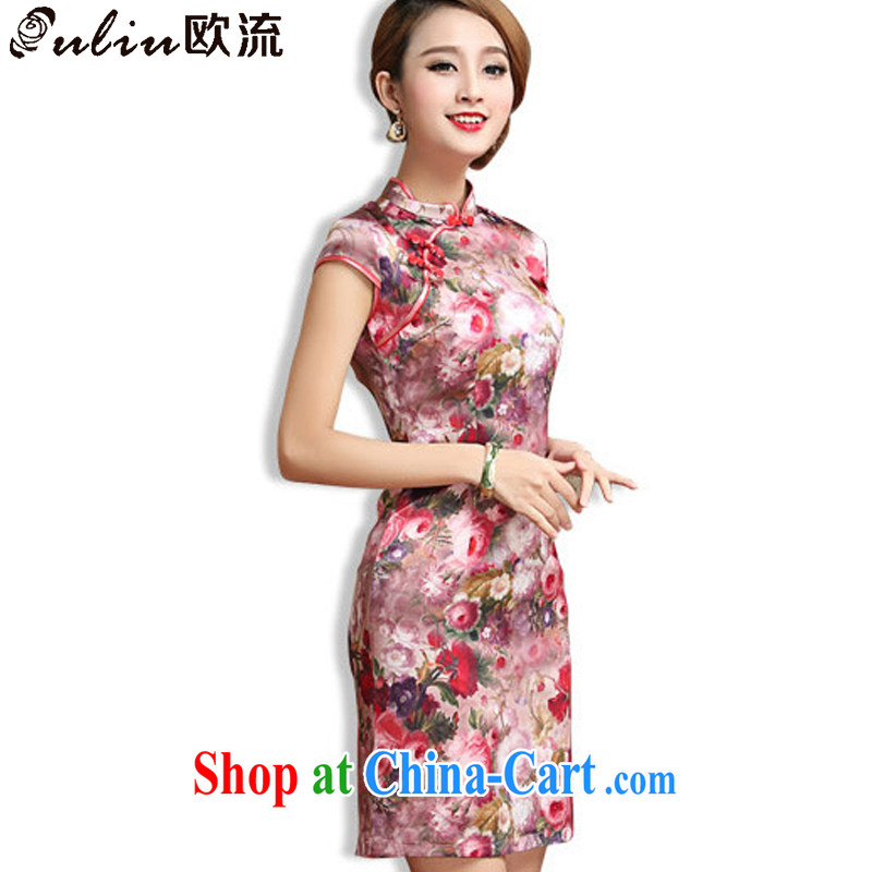 The class elegance short cheongsam heavy silk mulberry Silk Cheongsam dress antique Chinese Korea dresses AQE 027 floral XXXL