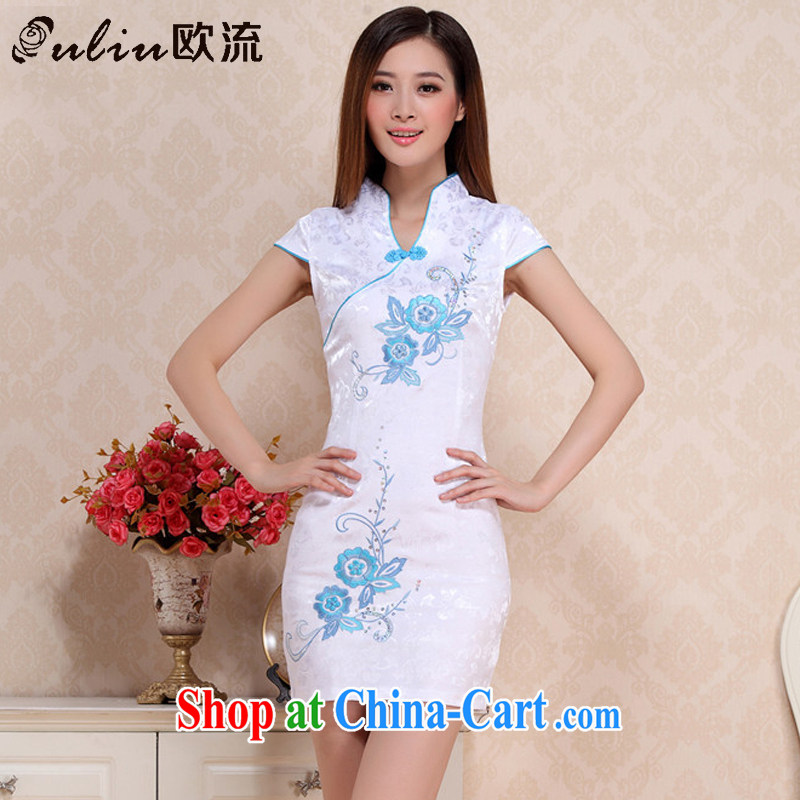The stream summer retro beauty short cheongsam lady literary aura girl cheongsam dress uniform performances AQE 0711 blue S