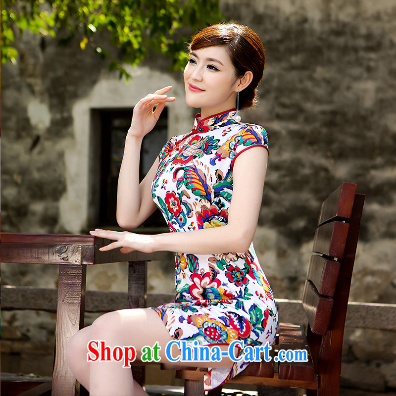 Daily outfit 5 color paintings Chinese stamp retro, spring and summer with stylish improved cheongsam dress paint aura XL