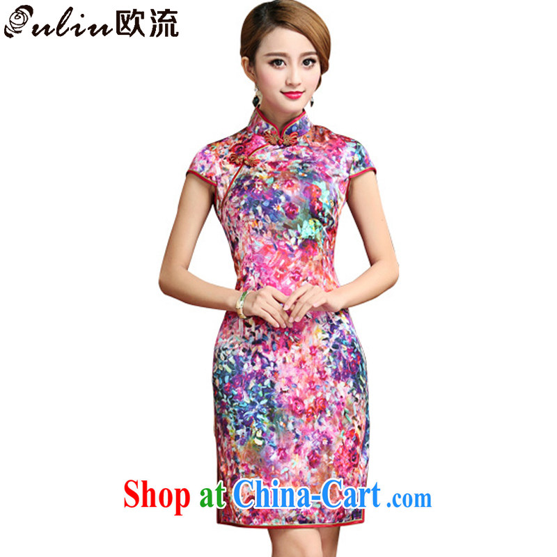 The stream is silk cheongsam dress 2015 summer sauna silk Chinese Dress dress short cheongsam AQE 028 photo color XXL