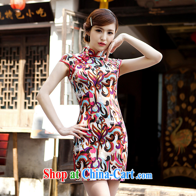 2015 spring and summer new cheongsam dress, short, Retro ethnic wind improved Silk Cheongsam dress paint aura XL