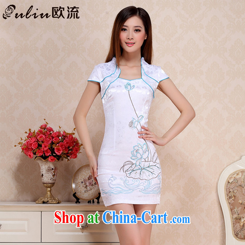 The first class embroidery Lotus retro republic of cheongsam stylish improved daily cheongsam dress AQE 0712 blue XXL