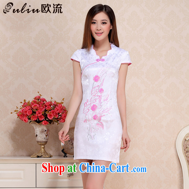 The flow improved Daily Beauty dresses, dresses of Korea girls College wind cheongsam AQE 0716 pink XXL