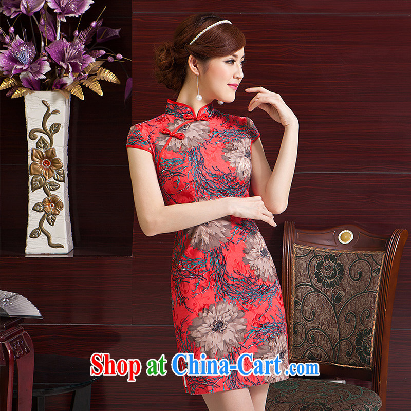 2015 spring dresses more Ting silk retro improved daily outfit summer rose stamp short beauty aura cheongsam red XL