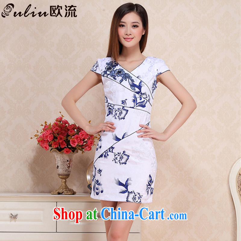 The stream summer retro improved daily cheongsam beauty graphics thin floral cheongsam dress Korea elegance dresses AQE 0719 blue and white porcelain XXL