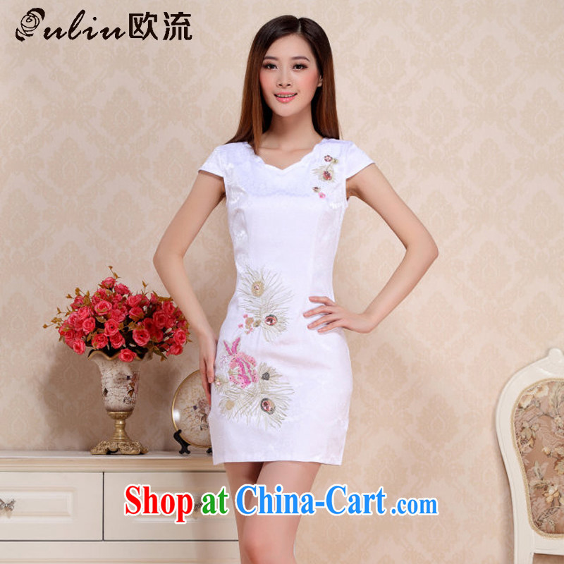european round collar short cheongsam retro improved day-students of cheongsam dress AQE 0738 white XXL