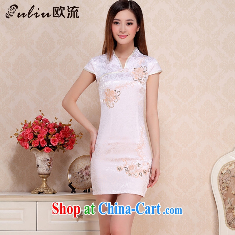 The class short cotton retro dresses elegance beauty white cheongsam dress ethnic wind AQE 0739 apricot S