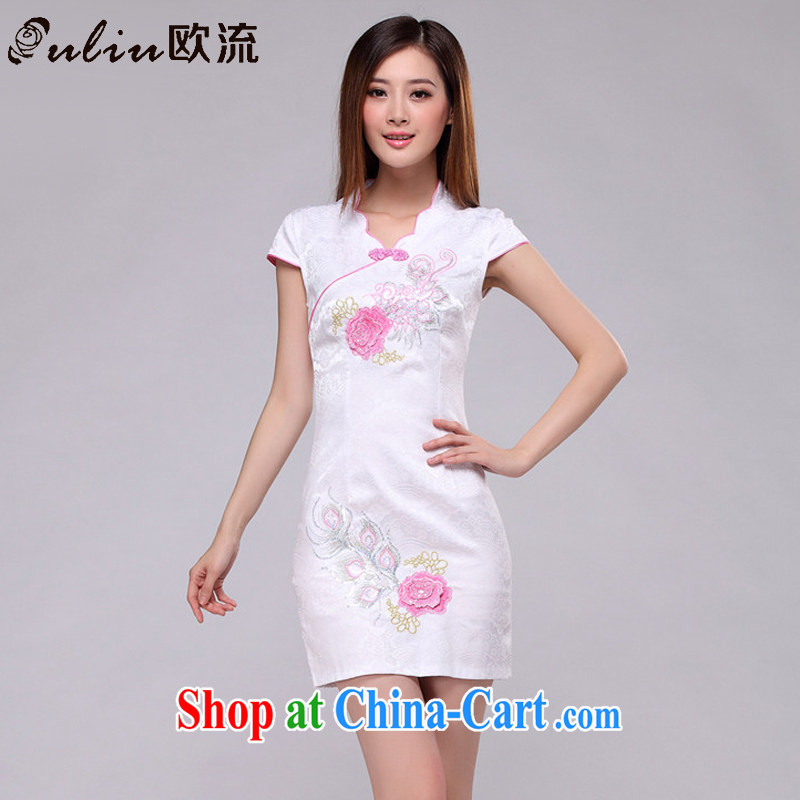 The stream embroidered classic elegance on dresses beach retro fashion cheongsam dress AQE 0750 pink XXL