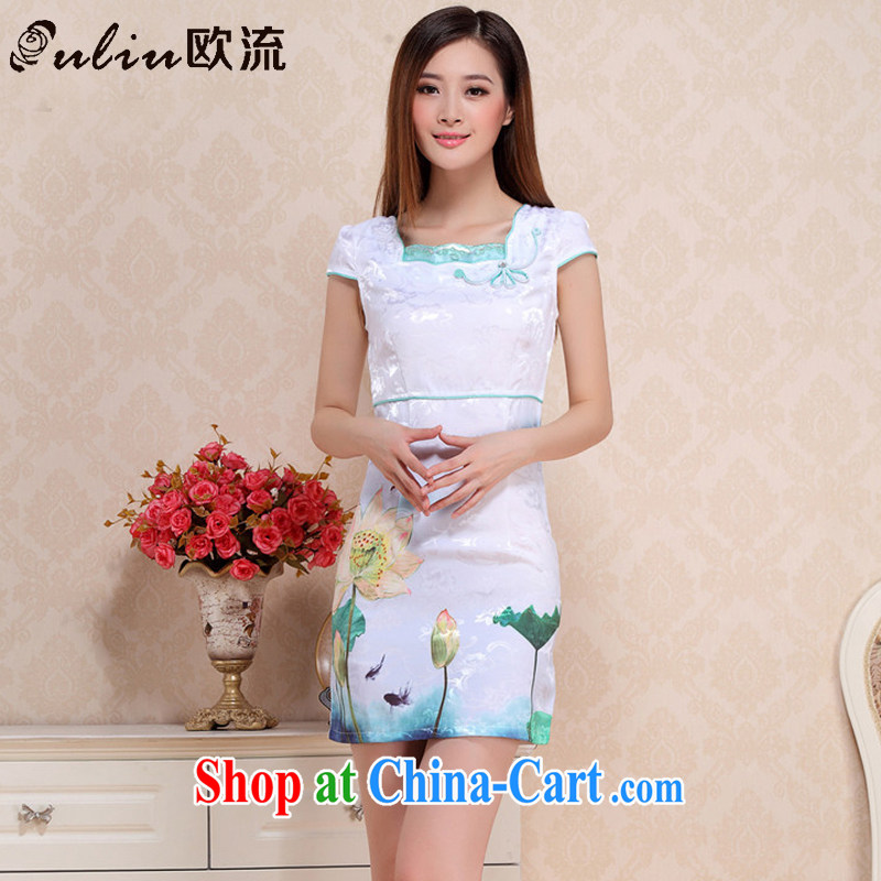 The trendy retro Lotus cheongsam dress 2015 summer day improved cheongsam AQE 0751 green XXL