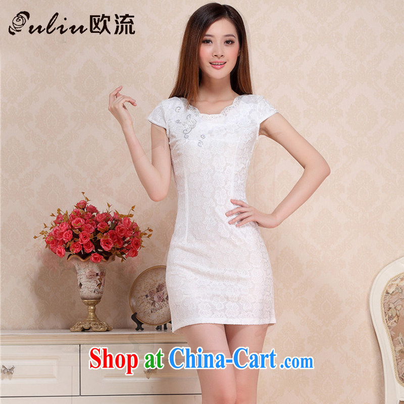 The stream summer Beauty Fashion sexy lace cheongsam elegance short cheongsam dress retro small dress dresses female AQE 0752 white M