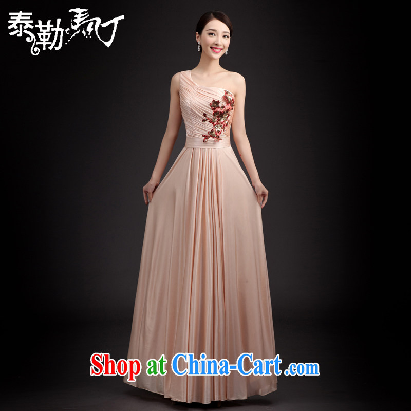2015 single shoulder dress Korean fashion Spring Summer cultivating pure color long skirt wedding wedding banquet long bridesmaid clothing pink XXL