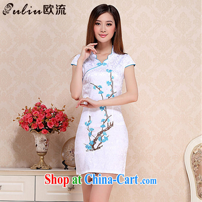 The stream embroidery phillips-cultivating short dresses retro style daily outfit skirt short-sleeved summer dress AQE 0760 blue XXL