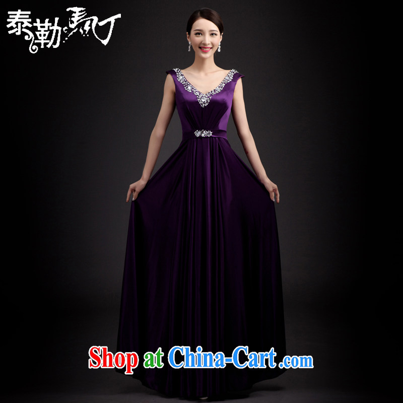 2015 bridal toast serving Korean fashion (Spring/Summer beauty dress dress bridesmaid service banquet wedding dress purple XXL