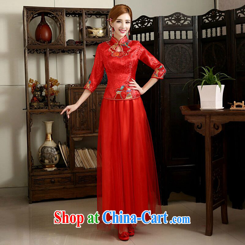 White first about Chinese wedding wedding dresses bridal toast clothing and long, 2015 New Red girl cheongsam dress summer M