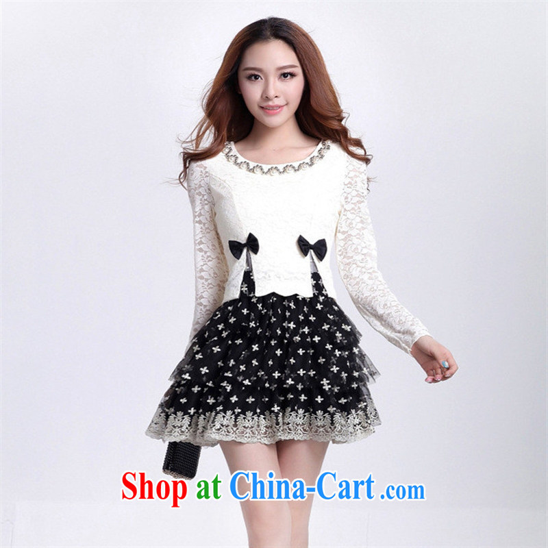 9 months female _ autumn and winter clothing new, larger lady lace stitching cultivating long-sleeved leave two shaggy Princess bowtie dresses white L