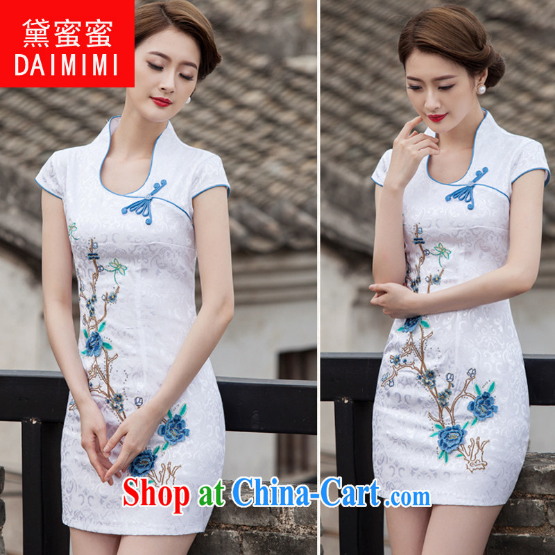 Diane honey honey 2015 spring and summer new Chinese antique dresses and stylish high-end embroidery daily dresses dresses blue XL
