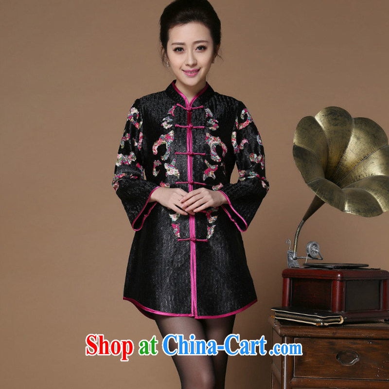 Optimize the Cayman yousiman Spring and Autumn new larger female solid color parquet Tang with solid-colored linen silk 100 a mother load 8501 cheongsam black XL