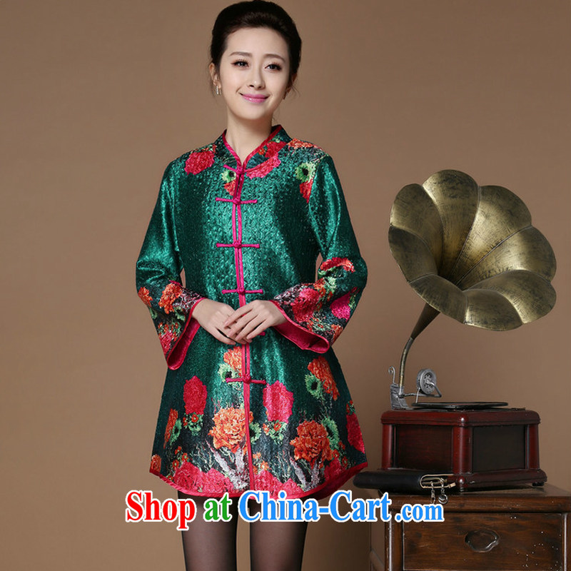 Optimize the Cayman yousiman mom with new middle-aged and older women wear autumn basket with the stamp duty long-sleeved shirt T middle-aged large code Chinese shirt T-shirt 8502 green XL