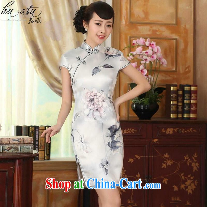 spend the summer girl Lotus cultivating heavy Silk Dresses retro improved sauna silk light short cheongsam dress figure-color 2 XL