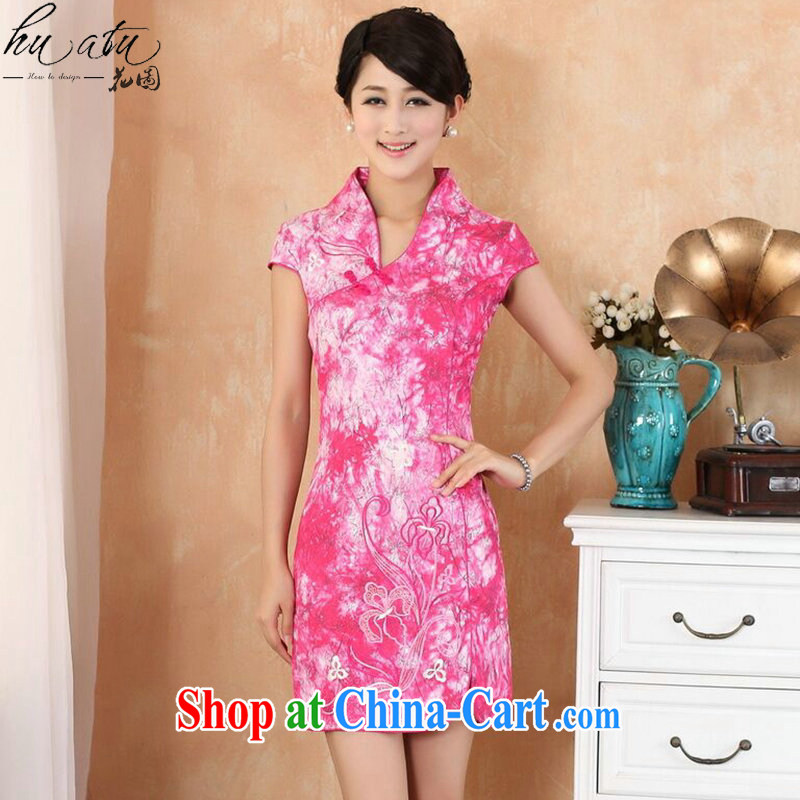 spend the summer new female Chinese qipao Chinese improved, for stretch denim fashion short cheongsam dress as shown color XL
