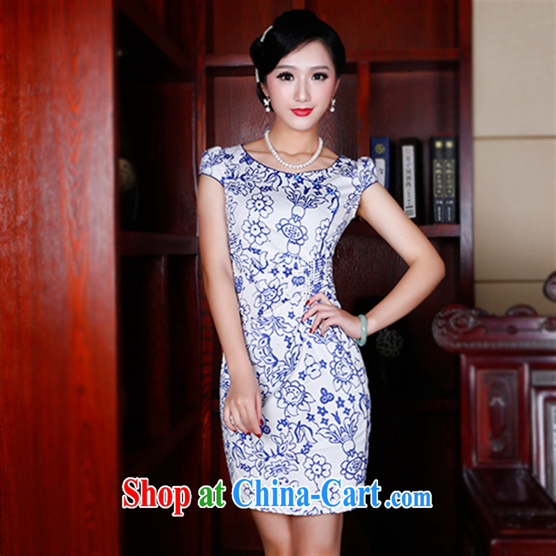 Unwind after the 2015 summer new retro fresh ethnic wind improved cheongsam beauty round-collar dresses 5404 5404 fancy XXL