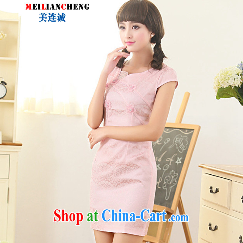 The US even good faith summer 2015 new cheongsam dress stylish embroidery patterns petals short-sleeved beauty graphics thin further skirt pink XXL