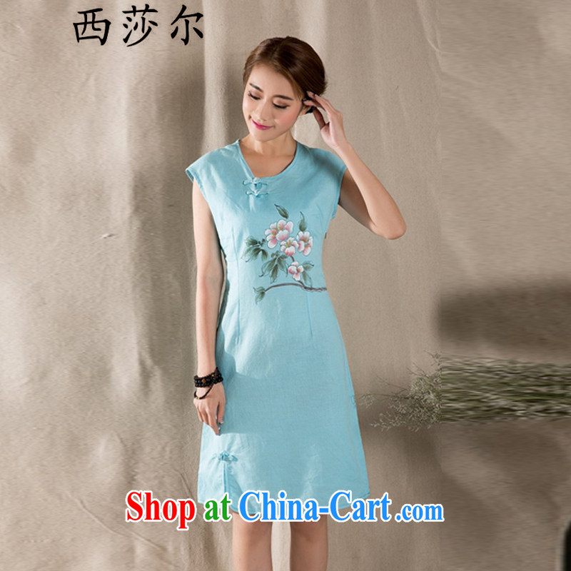 The de 2015 new art nouveau cotton the female hand-painted cotton Ma Sau San improved cheongsam dress blue XL