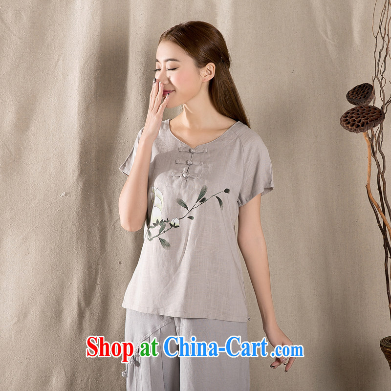 The Mona Lisa's 2015 summer new antique Chinese female improved stylish dresses T-shirt cotton Ms. Yau Ma Tei Tong with gray XXL